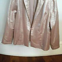 Chico's Size 3 Silver Metallic Jacket Blush/tan Blazer Jacket Textured Nwt Photo