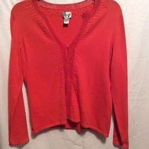 Chico's Sweater/shrug. Orange Blush Their Sizing 1. Knit With Crochet/beading Photo