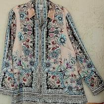 Chico's Sz 2 M L Artsy Multicolor Shirt Blouse Tunic Top Blush Teal Silky 12 14 Photo