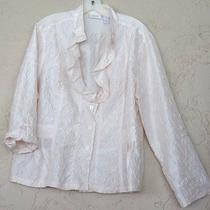 Chico's Sz 3 L/xl Pink Blush Jacket Top Shirt Crinkle Roll Sleeve 14 16 18 Euc Photo