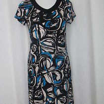 Chico's Travelers 0 S Black Aqua Print Slinky v-Neck Short Sleeve Dress 2312 Photo
