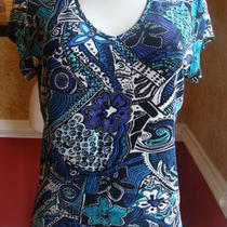 Chico's Travelers Cap Sleeve Royal Blue/white/aqua Fancy Print Top-1 Photo