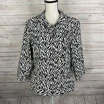 Chicos Womens Zebra Print Denim Jean Jacket Size 3 Xl Black White 3/4 Sleeve Photo