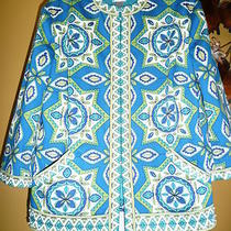 Chicos Blue White Teal Aqua Abstract Jacket  Beautiful   2  14  Cotton Spandex Photo