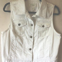 Chicos Platinum Sz 1 White Sleeveless Vest W Clear Sequin Accents Silver Buttons Photo