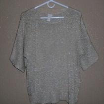 Chicos Texture Shine Roz Sweater 2 Pullover Glitter Metallic New Khaki Nwt Sz 12 Photo