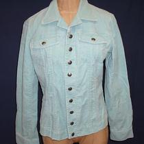 Chicos Women's Fine Wale Corduroy Jacket Turquoise Color Chicos Size 0 (6-8) Photo