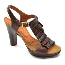 Chie Mihara 370 Tamai T-Strap Heels Womens Size 37.5 / 7 Brown Sandals Shoes Photo