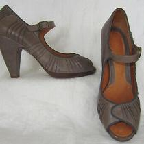 Chie Mihara Gray Taupe Open Toe Mary Jane Pumps Shoes Size 39.5 Photo