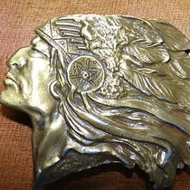 Chief Headdress Native American Vintage Bronze Belt Buckle Made in the Usa Photo