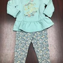 Child of Mine Baby Girl 18 Month Outfit Guc Green Floral Little Sister Photo