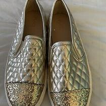 Children's Place Girls Slip on Blush Gold Sparkle Sneakers Size 6 Nwt Photo