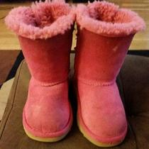 Childrens Pink Size 8 Ugg Australia and Two Pairs of Rainboots. Photo