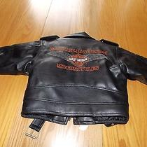 Childs Harley Davidson Leather Look Jacket Insulated Zippers Belt Size 4 Photo
