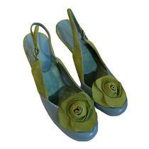Chinese Launder Leather Sling Back Shoes 7 Blue Green Pump Heel Embellished Rose Photo