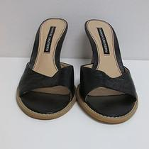 Chinese Laundry - Black and Tan Sandal Wedge Heel Leather Size 9m Open Toe B1260 Photo
