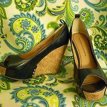 Chinese Laundry Blue Leather Platform Wedges (Size 11) - Great Condition Photo