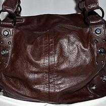 Chinese Laundry Dark Brown Faux Leather Xl Tote Bag W/ Faux Leopard Print Lining Photo