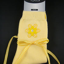 Chinese Laundry Ladies Socks Size 9-11 Yellow White Gingham Ribbon Ties Flower Photo