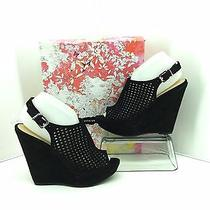 Chinese Laundry Meet Up Black Micro Suede Wedge Heels. Size 8  Open Toe. Photo