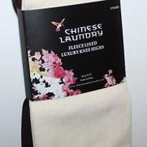 Chinese Laundry Nwt Women's 2 Pairs Fleece Lined Knee High Socks Ivory & Brown Photo