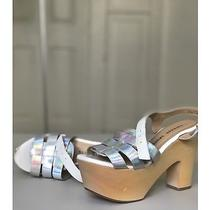 Chinese Laundry Platform Wedge Sandals Size 7 Silver and White Photo