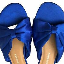 Chinese Laundry Size 6.5 Womens Slip on Sandals Blue Satin Photo