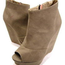 Chinese Laundry Women's Mix Tape Wedge Ankle Boot Taupe Leather-Like Size 8 Med Photo