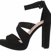 Chinese Laundry Women's Riddle Heeled Sandal Black Suede Size 9.0 Ezc1 Photo