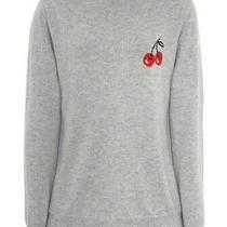 Chinti and Parker Net a Porter Grey Cashmere Jumper Red Cherry Design Size 6 - 8 Photo