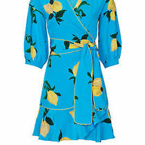 Chinti & Parker Women's Dress Blue Size 4 Wrap Lemon-Print Side-Tie 750- 294 Photo