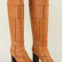 Chloe 1395 Elah Tuscan 509 Leather Patchwork Chloe Knee-High Boots 5.5/36 New Photo