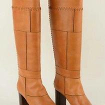 Chloe 1395 Elah Tuscan 509 Leather Patchwork Chloe Knee-High Boots 7.5/38 New Photo