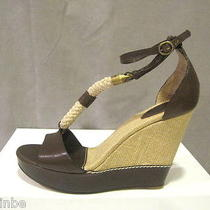 Chloe Amiata Rope Canvas Leather Wedges Shoes 39.5 9.5 Photo