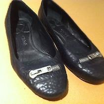 Chloe Black Ballet Flats- Shoes With Silver Zipper Size 8 Made in Italy Photo