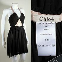 Chloe Black Dark Brown Ribbon Halter Baby Doll Dress Mini Sz S Photo
