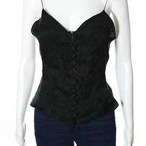Chloe Black Floral Silk Spaghetti Strap Button Front Lace Back Tank Top Sz 38 Photo