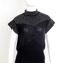 Chloe Black Knit Mohair Wool Beaded Cap Sleeve Dress Shirt Top Blouse 38/2/s Photo