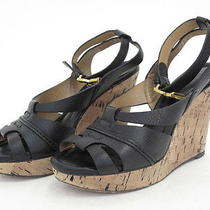 Chloe Black Leather Ankle Strap Cork Wedges 37 Photo