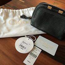 Chloe Black Leather Cosmetic Pouch Black Euc Photo