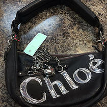 Chloe Black Leather Purse W/ Chrome Chloe Logo and Heart Pendant Photo
