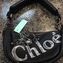 Chloe Black Leather Purse W/ Chrome Chloe Logo and Heart Pendant Photo