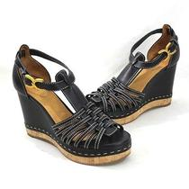 Chloe Black Leather Strappy Cork Wedge Sandals Shoes 38 1/2 Photo