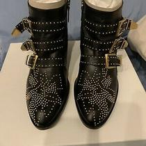 Chloe Black Leather Susanna Ankle Boots With Gold Studs Size 37 Photo