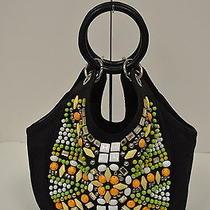 Chloe  Black Multi Colored Beaded & Embellished Bracelet Handbag 110735dc Photo