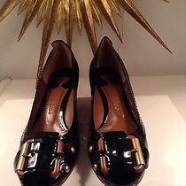 Chloe Black Patent Leather Pump With Wood Buckles Photo