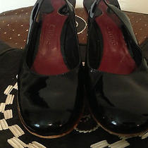 Chloe Black Patent Leather Wood Wedge Heels Photo