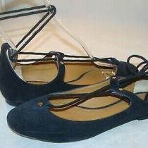 Chloe Black Suede Lace-Up Gladiator Ballet Flats Shoes 38.5 / 8.5 Italy  Photo