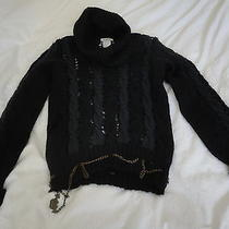 Chloe Blue/black Cable Knot Sweater Small Photo