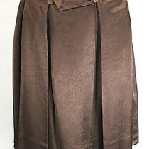 Chloe Brown Viscose Pleated Tie Skirt 38  6 Nwts Photo